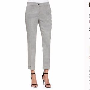 ETRO italy 46 cuffed black white pants